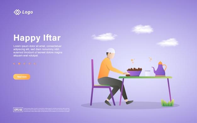 Ramadan kareem platte bestemmingspagina sjabloon