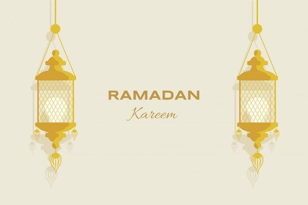Ramadan kareem platte wenskaartsjabloon. moslimvakantie, arabisch en islamitisch flyerontwerp voor eid mubarak.