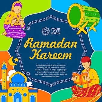 Ramadan kareem-poster in platte ontwerpstijl