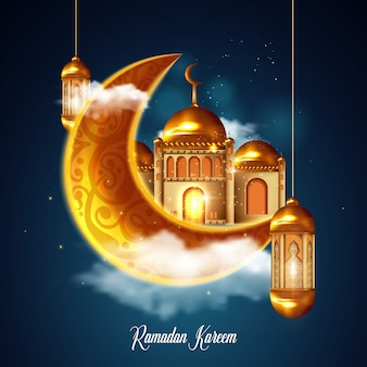 Ramadan kareem prachtige wenskaart met arabische kalligrafie wat ramadan kareem betekent. islamitische achtergrond met moskeeën ook geschikt voor eid mubarak. illustratie