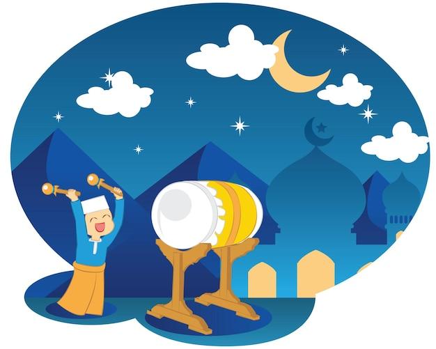 Ramadan kareem, ramadan-drummer, islamitische en turkse viering. ramadan-trommel met de moskee en de woestijn in de nacht vector