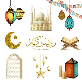 Ramadan kareem realistische set