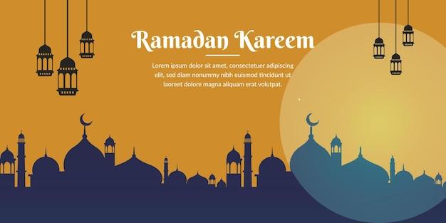 Ramadan kareem religieuze inscriptie banner ontwerp en visitekaartje
