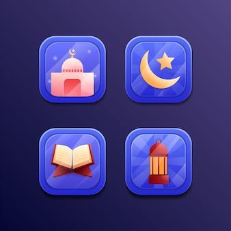 Ramadan kareem set icon spelontwerp ui