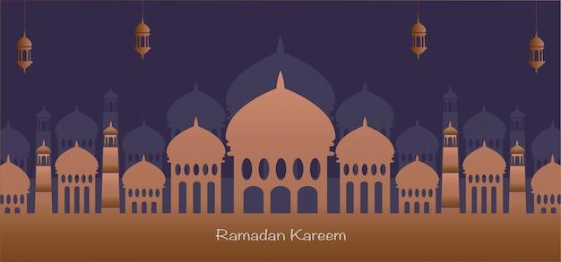 Ramadan kareem, silhouet achtergrond