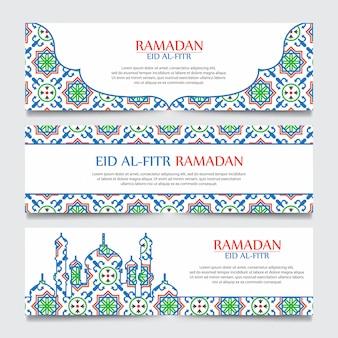 Ramadan kareem sjabloon voor spandoek met islamitische patroon.