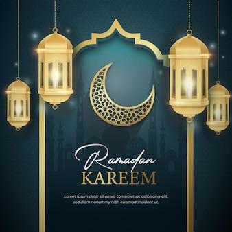 Ramadan kareem social media post-sjabloon