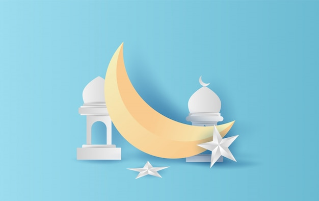 Ramadan kareem-toenemende maandecoratie met ster en lantaarn