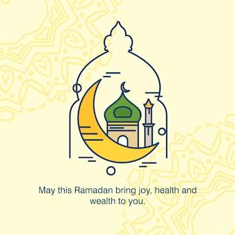 Ramadan kareem typogrpahic met creatieve ontwerpvector