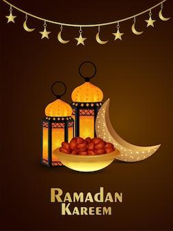 Ramadan kareem uitnodiging achtergrond met gouden islamitische lantaarn