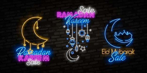 Ramadan kareem-uitverkoop biedt neoncollectie. ramadan holiday kortingen vector illustratie ontwerpsjabloon in moderne trendstijl, neonstijl,