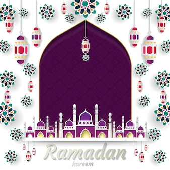 Ramadan kareem van papieren uitnodigingskaart islamitisch gesneden. vector illustratie