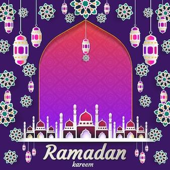 Ramadan kareem van papieren uitnodigingskaart islamitisch gesneden