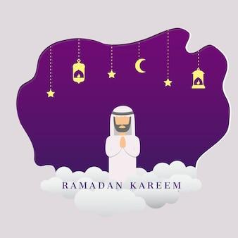 Ramadan kareem vector met man moslim
