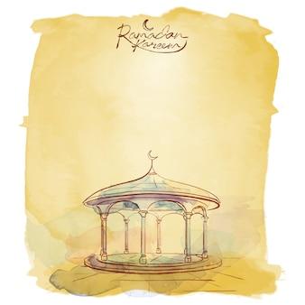 Ramadan kareem vector moskeewaterverf