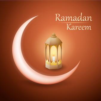 Ramadan kareem vectorontwerp met lantaarn en toenemende maan