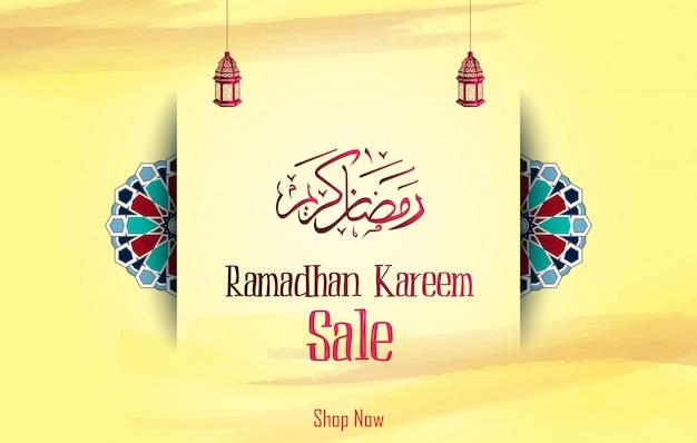 Ramadan kareem-verkoop met arabische kalligrafie en lantaarn