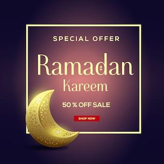 Ramadan kareem verkoop met maan achtergrond