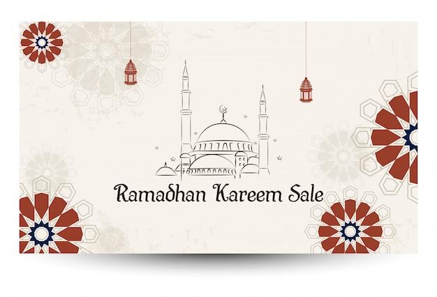 Ramadan kareem-verkoop met moskee