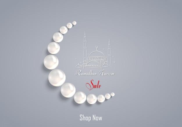 Ramadan kareem-verkoop met parelgebedparel
