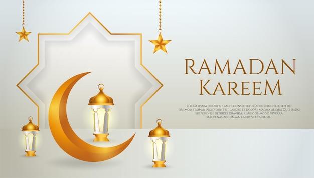 Ramadan kareem verkoop sjabloon voor spandoek met wassende maan, lantaarn en ster voor ramadan