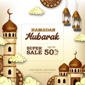 Ramadan kareem verkoopaanbieding banner met moskee-decoratie