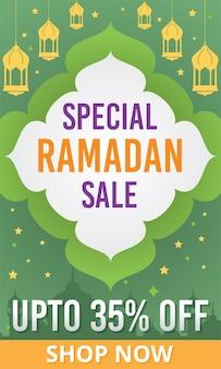 Ramadan kareem verkoopbanner. aanbieding flyer, poster speciale ramadan sale. tot 35% korting