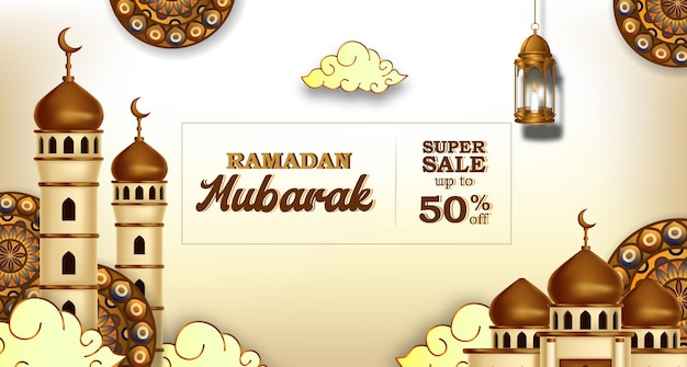 Ramadan kareem-verkoopbanner met 3d luxe gouden moskee en lantaarnfanoos