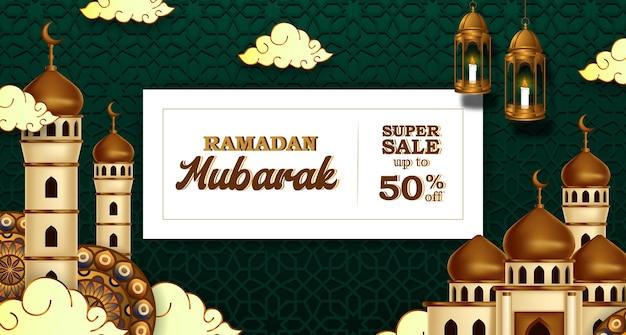 Ramadan kareem-verkoopbanner met 3d luxe gouden moskee en lantaarns
