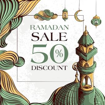 Ramadan kareem-verkoopbanner met hand getrokken islamitisch illustratieornament op witte grunge-achtergrond.