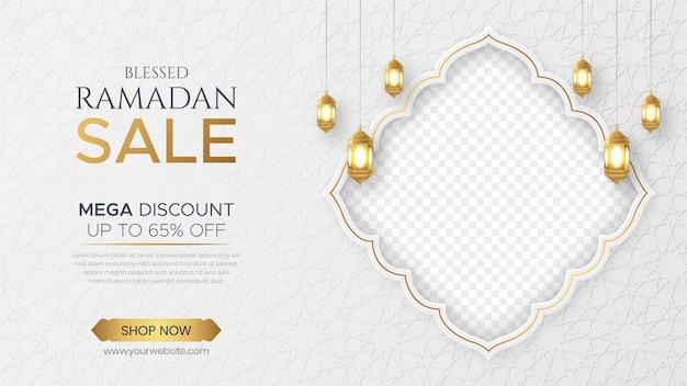 Ramadan kareem-verkoopbanner met lege ruimte voor foto