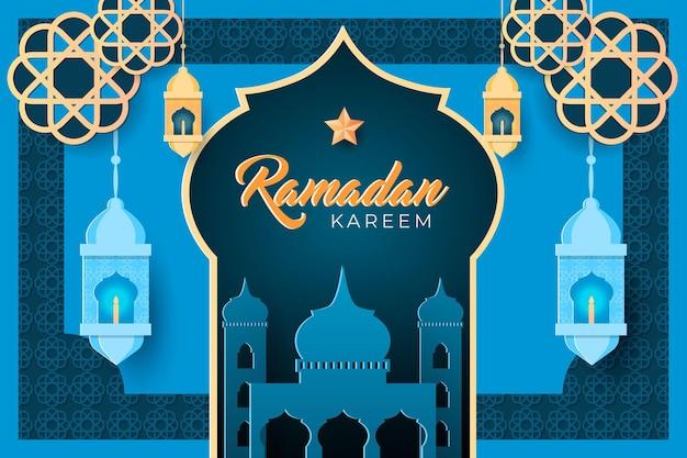 Ramadan kareem viering achtergrond met een papieren stijl