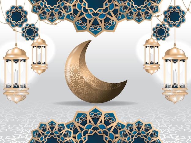 Ramadan kareem wenskaart en islamitische achtergrond