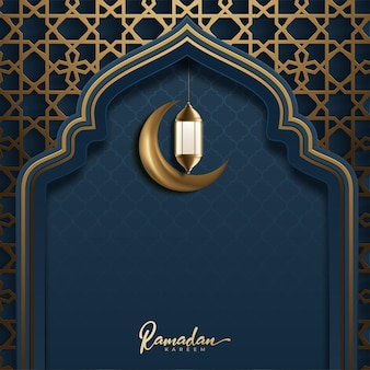 Ramadan kareem-wenskaart gloeiende gouden arabische lamp