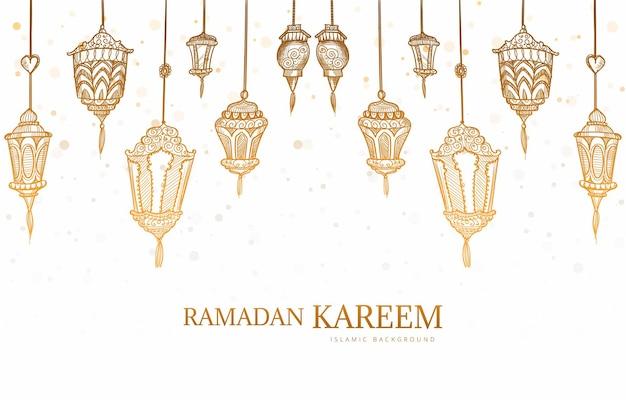 Ramadan kareem wenskaart hand loting schets achtergrond