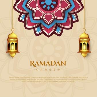 Ramadan kareem-wenskaart in papieren stijl