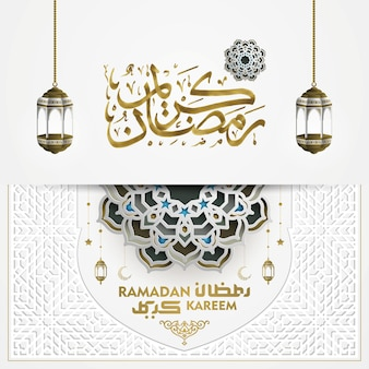 Ramadan kareem wenskaart islamitische bloemmotief ontwerp met kalligrafie en prachtige lantaarns
