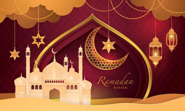 Ramadan kareem-wenskaart, islamitische kunststijl bacground