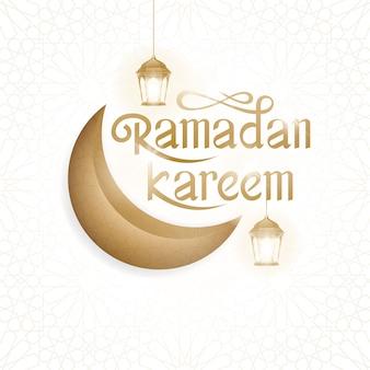 Ramadan kareem wenskaart kalligrafie met traditionele lantaarn en halve maan