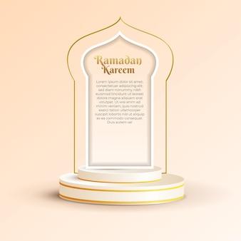 Ramadan kareem-wenskaart met 3d-podium