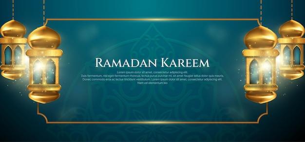 Ramadan kareem-wenskaart met decoratieve arabische lampen en gouden frame