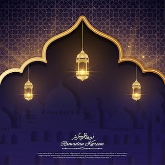 Ramadan kareem-wenskaart met glanzend lantaarnontwerp