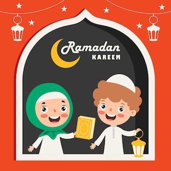 Ramadan kareem-wenskaart met kinderen, lampen en wassende maan