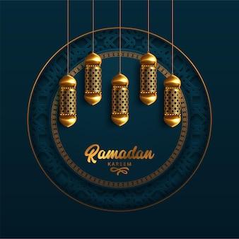 Ramadan kareem-wenskaart met moderne arabische kalligrafie en lampen