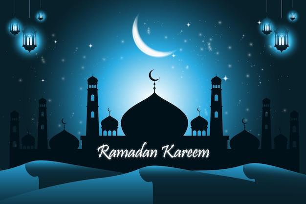 Ramadan kareem-wenskaart met moskee en wassende maan 's nachts