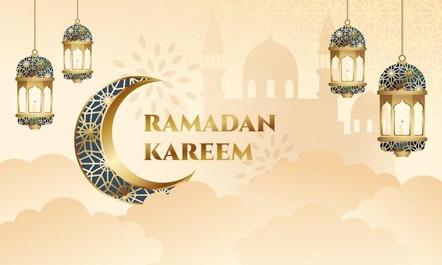 Ramadan kareem-wenskaart met moskeesilhouet en decoratieve lantaarn.