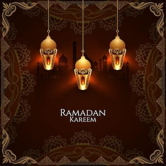 Ramadan kareem-wenskaart met stijlvolle gloeiende lantaarns
