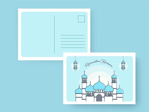 Ramadan kareem wenskaart of uitnodiging met envelop op blauwe achtergrond