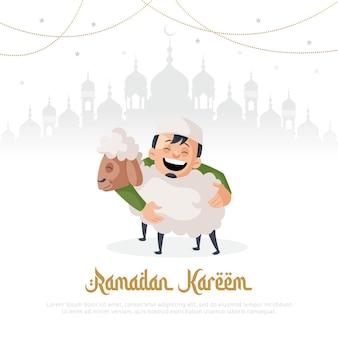Ramadan kareem wenskaart ontwerp met moslim man met schapen in de hand