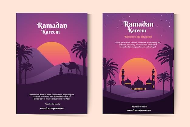 Ramadan kareem-wenskaarten met landschap bij zonsondergang